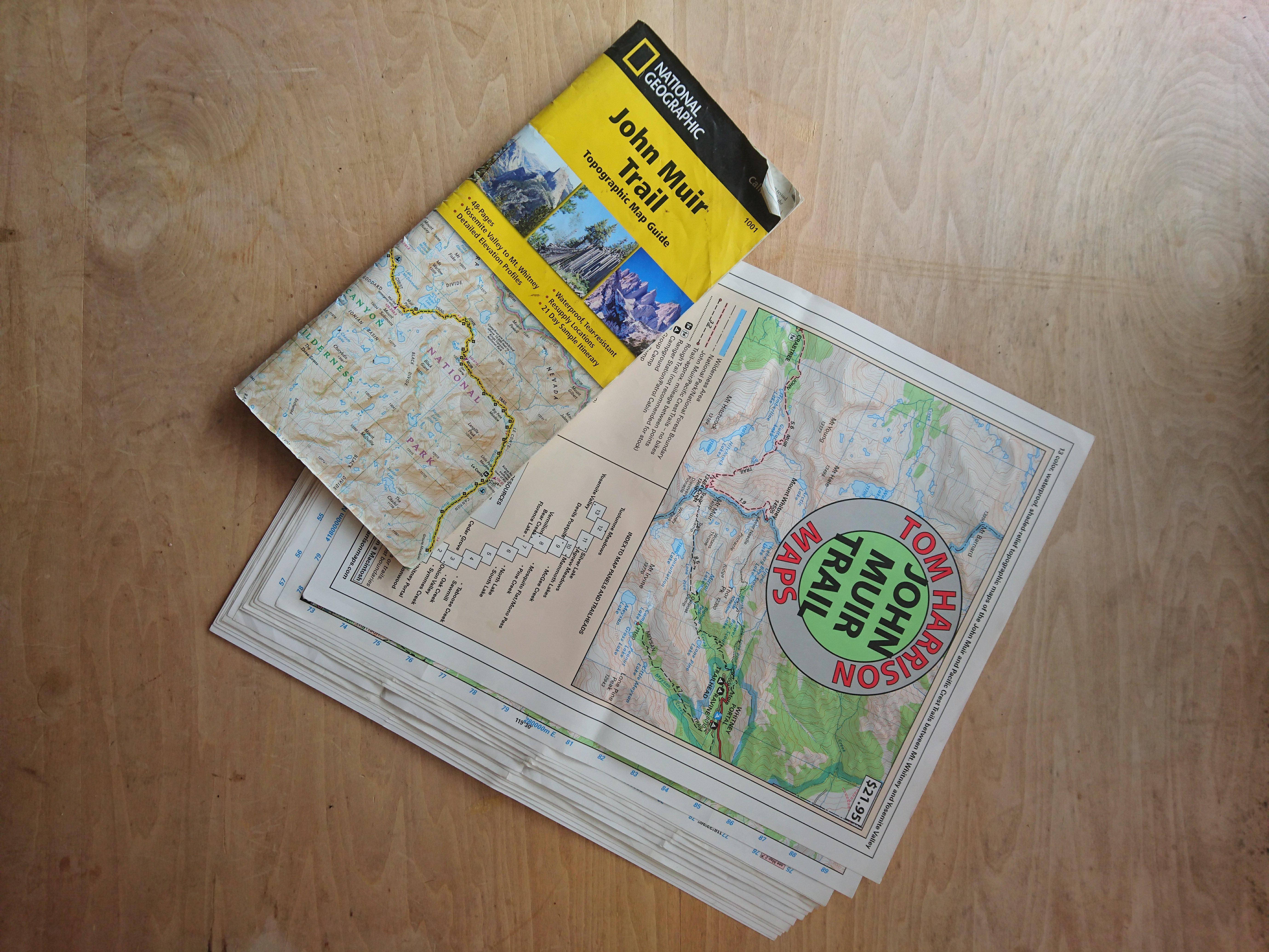 ジョンミューアトレイルの地図(紙の地図)